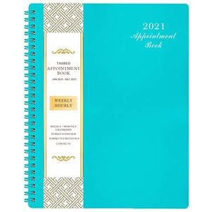"2021 Weekly Appointment Book & Planner - 2021 Daily Hourly Planner with Twin-Wire Binding, 8"" x 10"", Jan 2021 - Dec 2021, 30-Minute Interval, Lay - Flat, Round Corner, Thick Paper - Teal Green"