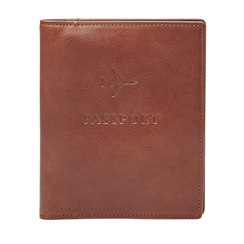 Fossil Men's Leather Passport Case, Dark Brown