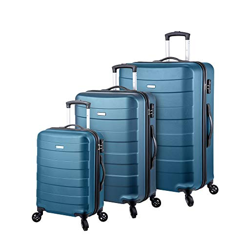 Regent Square Travel - 3 Piece Luggage Sets with Build-In TSA Lock and Spinner Goodyear Wheels – Mangusta, Hard Case (Petrol Blue)