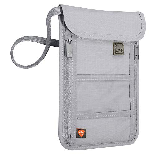 Lewis N. Clark RFID Blocking Stash Neck Wallet, Travel Pouch + Passport Holder for Women & Men, Gray, One Size