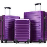 Flieks Luggage Sets 3 Piece Spinner Suitcase with TSA Lock Lightweight 20 24 28 inch (Purple)