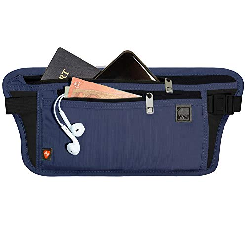 Lewis N. Clark RFID Blocking Money Belt Travel Pouch + Credit Card, ID, Passport Holder for Women & Men, Navy, One Size