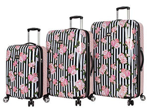 Betsey Johnson Designer Luggage Collection - Expandable 3 Piece Hardside Lightweight Spinner Suitcase Set - Travel Set includes 20-Inch Carry On, 26 inch and 30-Inch Checked Suitcase (Stripe Roses)