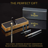 Silver Chrome Fountain Pen Scriveiner - Stunning Luxury Pen with 24K Gold Finish, Schmidt 18K Gilded Nib (Medium), Best Pen Gift Set for Men & Women, Professional, Executive Office, Nice Pens