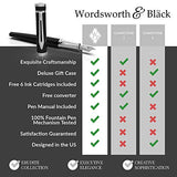 Wordsworth & Black Fountain Pen Set, Medium Nib, Includes 6 Ink Cartridges and Ink Refill Converter, Gift Case, Journaling, Calligraphy, Smooth Writing Pens [Black Chrome], Perfect for Men and Women