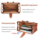 Banuce Vintage Leather Briefcase for Men Doctor Bag Lock Hard Attache Case Business Lawyer Attorney Bag Brown
