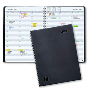 2021 Weekly Planner and Monthly Planner – Hourly Appointment Book 2021 – Softcover, Twin-Wire Binding – Simple Design Inspires Productivity – 8.5 x 11