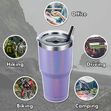 ALOUFEA 30oz Stainless Steel Tumbler, Insulated Coffee Tumbler Cup with Lid and Straw, Double Walled Travel Coffee Mug for Hot & Cold Drinks (Glitter Lavender, 1 Pack)