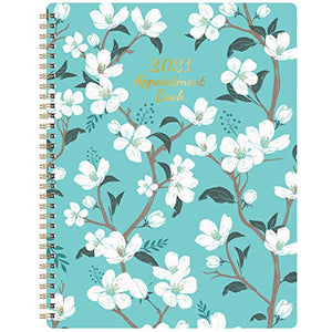 "2021 Weekly Appointment Book - 2021 Daily Hourly Planner, 8"" x 10"", Jan. - Dec. 2021, Weekly Appointment Book with 30-Minute Interval + Thick Paper + Round Corner + Twin-Wire Binding - Teal Floral"