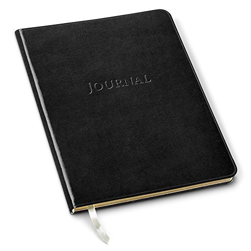 Leather Large Desk Journal by Gallery Leather, Ruled Notebook, Acadia Black, 9.75