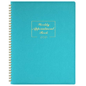 "2021 Weekly Appointment Book & Planner - 2021 Daily Hourly Planner 8.4"" x 10.6"", Jan. 2021 - Dec. 2021, 15-Minute Interval, Flexible Soft Cover, Twin-Wire Binding, Lay - Flat"