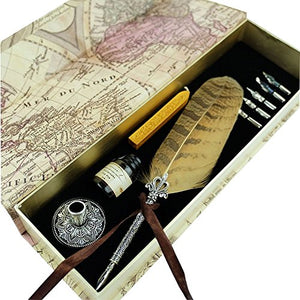Hethrone Calligraphy Pen Set Fountain Dip Pen and Ink Set Feather Writing Quill Pen with 5 Nibs, Fire Wax, Pen Holder and Black Ink