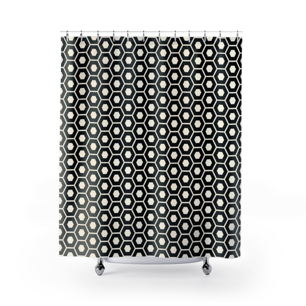 Black And Creamy White Geometric Print Shower Curtain Heights Couture