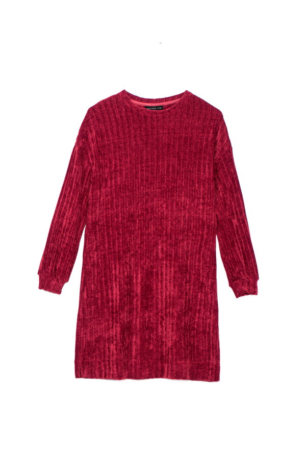 FW square velvet rib dress