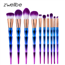 Load image into Gallery viewer, zwellbe 10Pcs Diamond Makeup Brush Set Powder Pinceis Eyeshadow Eyeliner Eyebrow Lip Brush Rainbow Golden Cosmetic Tool Kits - quiescentmind.com