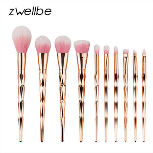 zwellbe 10Pcs Diamond Makeup Brush Set Powder Pinceis Eyeshadow Eyeliner Eyebrow Lip Brush Rainbow Golden Cosmetic Tool Kits - quiescentmind.com