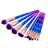 zwellbe 10Pcs Diamond Makeup Brush Set Powder Pinceis Eyeshadow Eyeliner Eyebrow Lip Brush Rainbow Golden Cosmetic Tool Kits