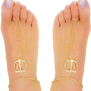 Fashion Women Anchor Anklet Bracelet Sandal Barefoot Beach Foot Jewelry - quiescentmind.com