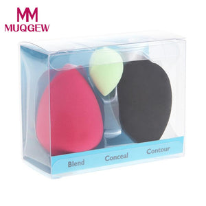Multicolor Mini Droplet Shape 3PCS Professional Beauty Perfect Makeup Foundation Blowing Sponge - quiescentmind.com
