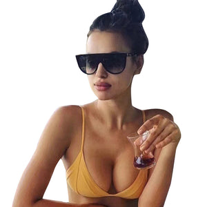 Fashion  Unisex Vintage Shaded Lens Thin Glasses Fashion Aviator Sunglasses - quiescentmind.com