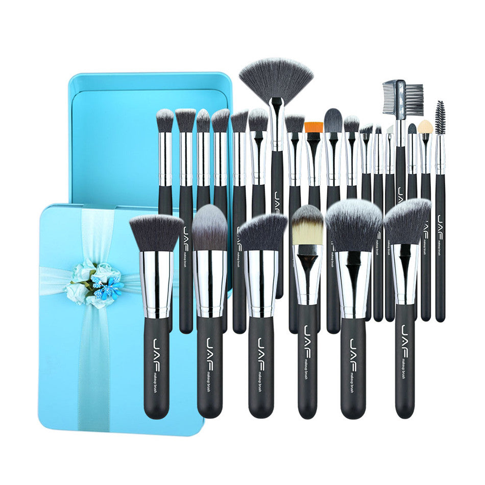 JAF Valentine's 24pcs Makeup Brushes Excellent Gift Synthetic Make Up Brush Set Green Box Packing for Make-up Lady #J2418GN-B - quiescentmind.com