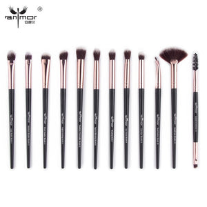 Premium Aluminum Tip Makeup Brushes - 12 Piece Set - quiescentmind.com