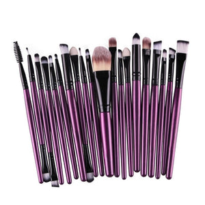 20PC Professional Eye Makeup Brush Eye Shadow Brush Set Cosmetic Tool Make-up Toiletry Kit Natural Making (Purple Rod Black Tube) - quiescentmind.com