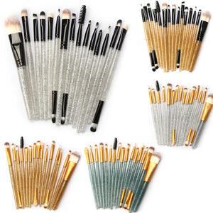 Glitter Makeup Brush Set tools Make-up Toiletry Kit Shiny Brushes Set 15Pcs - quiescentmind.com