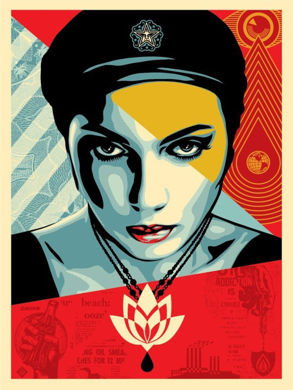 SHEPARD FAIREY AKA OBEY - Oil Lotus woman