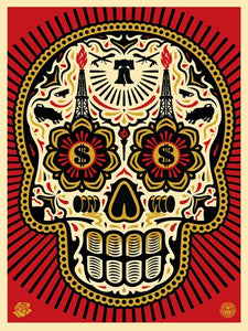 SHEPARD FAIREY AKA OBEY - Power & Glory Day Of The Dead Skull (RED)
