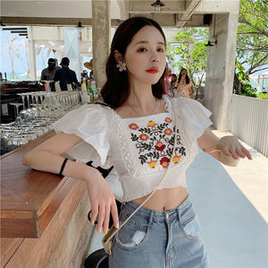 Elegant Flower Embroidery Cropped Flare Shirt