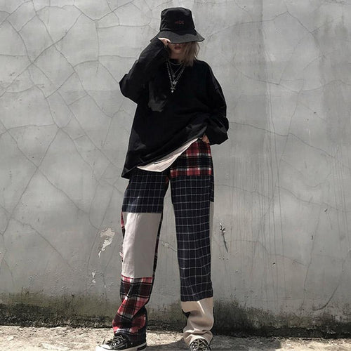 High Waist Plaid Block Color Pants