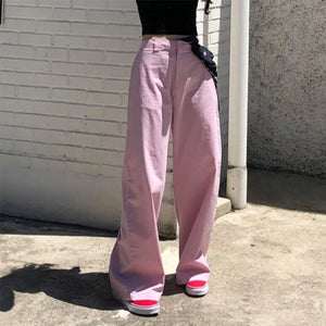 High Waist Solid Color Casual Loose Pants