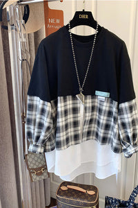 Vintage Loose Plaid Patchwork Sweatshirt