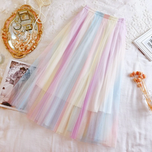 Colorful Rainbow Color Tulle Mesh Skirt