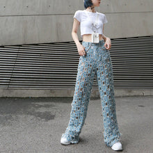 High Elastic Waist Retro Hole Hollow Out Pants