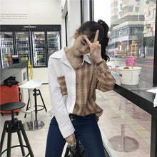 Retro Two Colors Trendy Long Sleeve Shirt