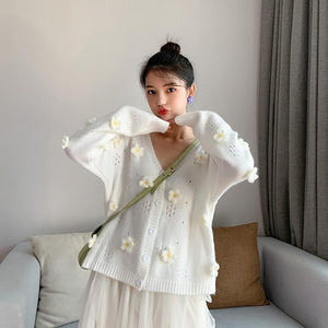 3D Flower Hollow Out Knitted Cardigan