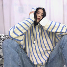 Loose Casual Striped Hoodie