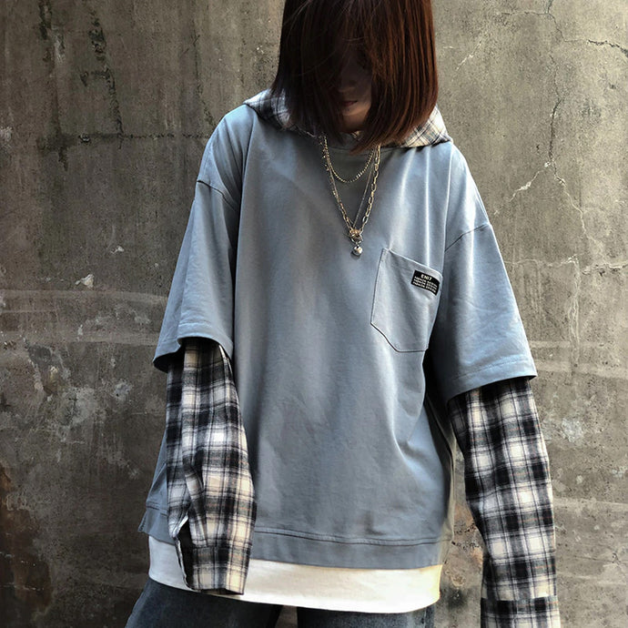 Vintage Loose Plaid Hooded Sweatshirt