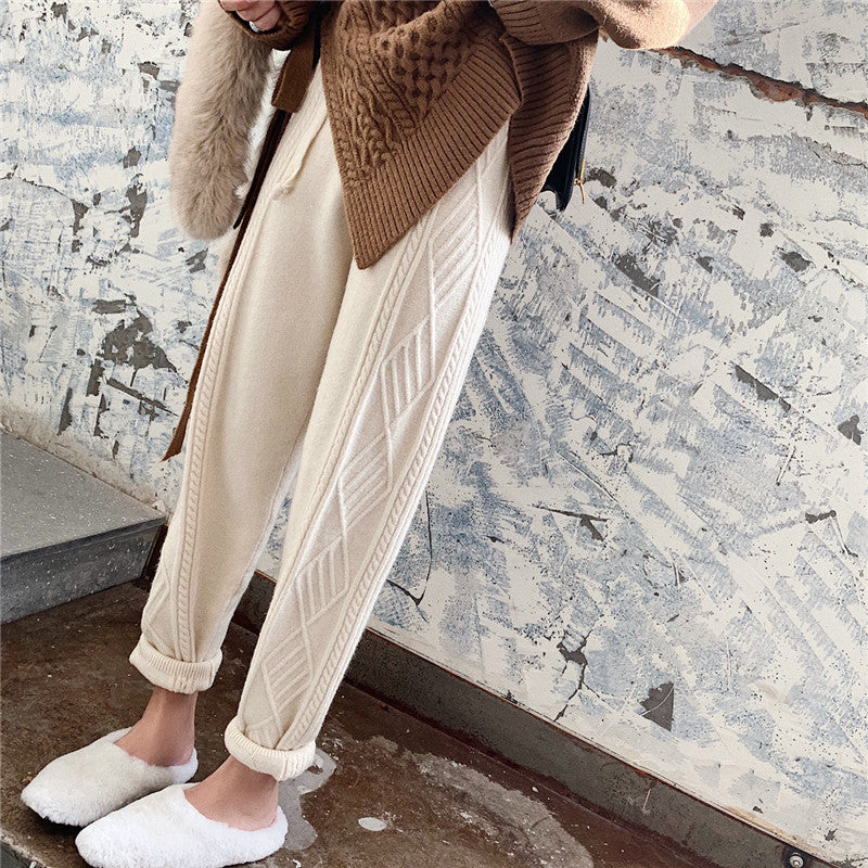 High Waist Knitted Ankle Length Pants