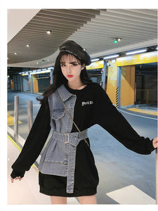 Sweatshirt Combine Denim Casual Jacket
