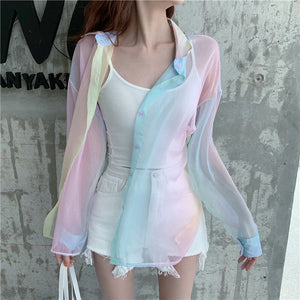 Rainbow Sexy Transparent Mesh Blouse Shirt