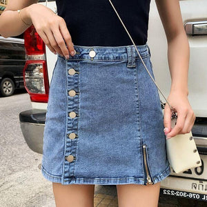 Zipper Button A-Line Sexy Skirt Jeans