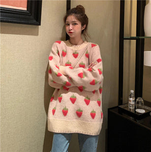 Cute Strawberry Long Sleeve Knitted Sweater