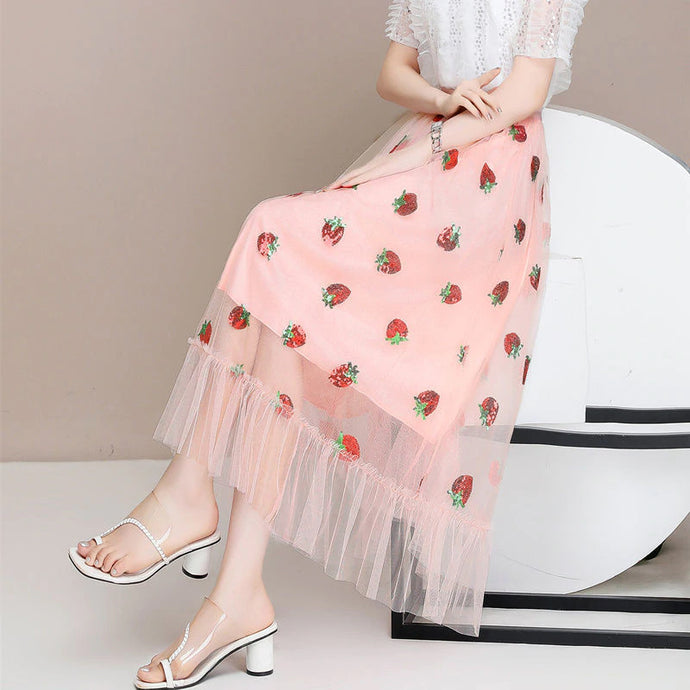 Sweet Strawberry Elastic Waist Ruffle Skirt