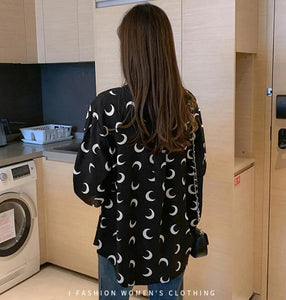 Moon Printed Turn Down Collar Long Sleeve Blouse Shirt