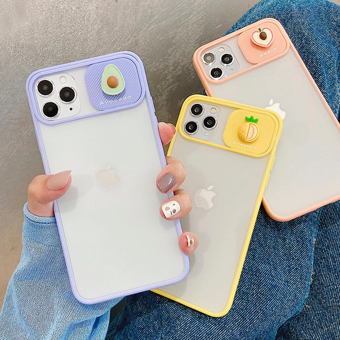 Fruit Pattern Slide Camera Lens Protection Case For iPhone