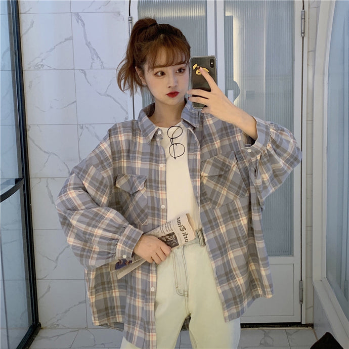 Loose Bat Sleeve Plaid Shirt