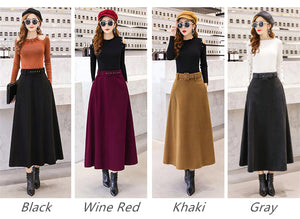 High Waist Woolen Skirt With Belt